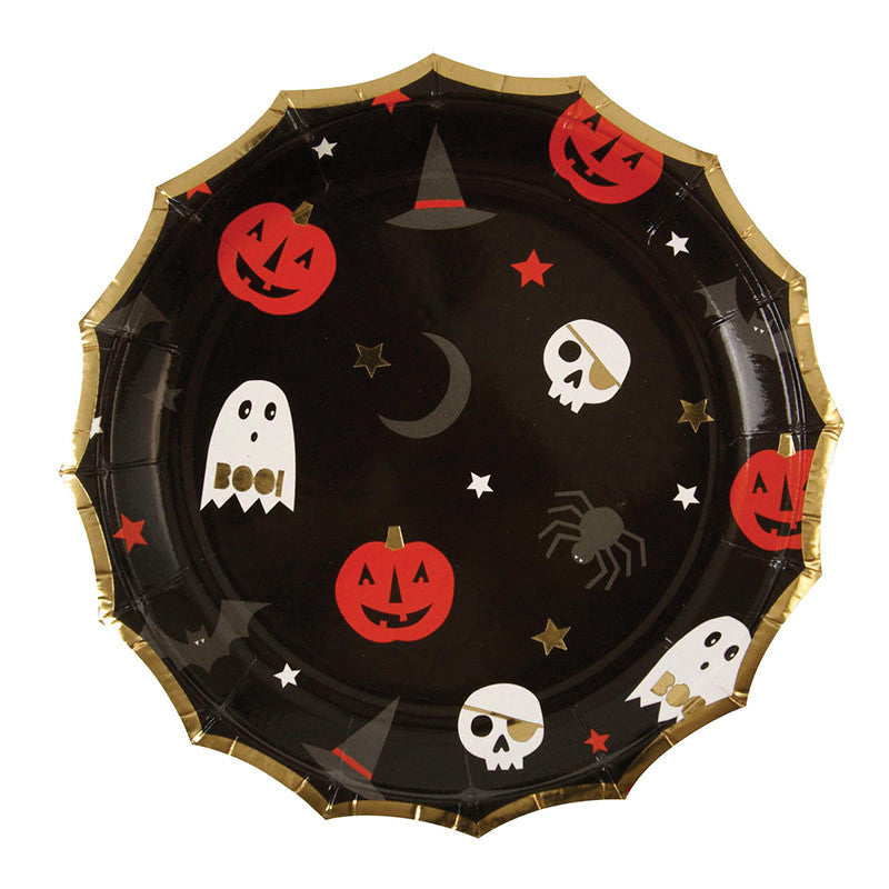 halloween, plates, pumpkins, ghosts, moon, witch