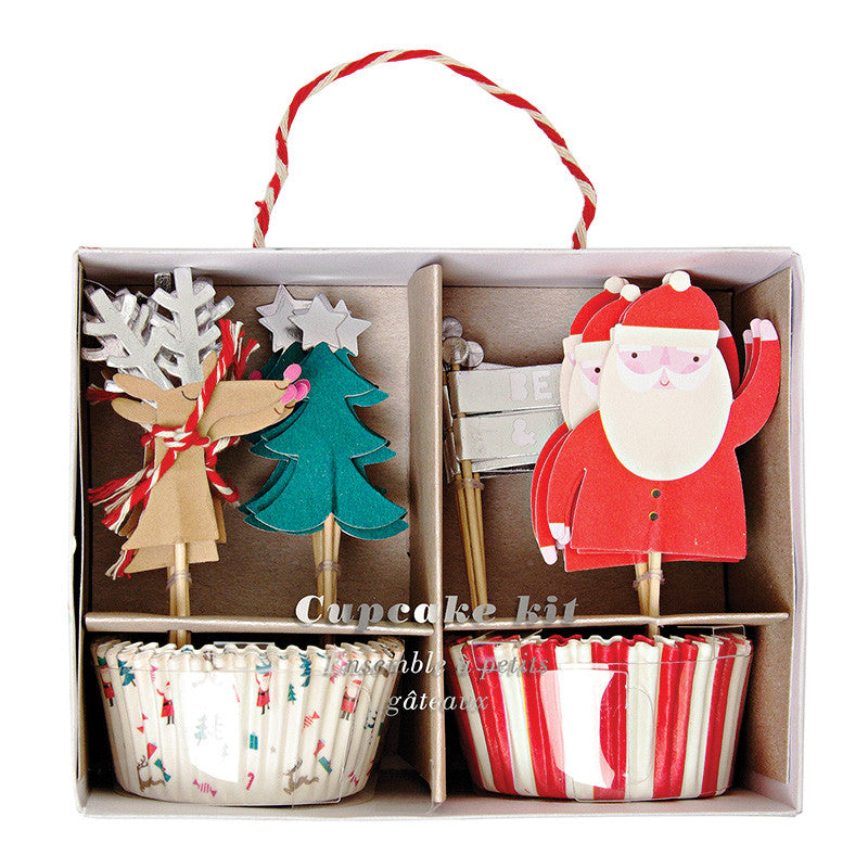 christmas, cupcake kits, reindeer, santa claus, christmas trees