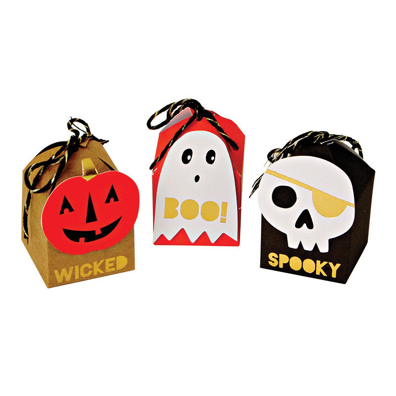 halloween, treat boxes, pumpkin, ghosts, skeletons