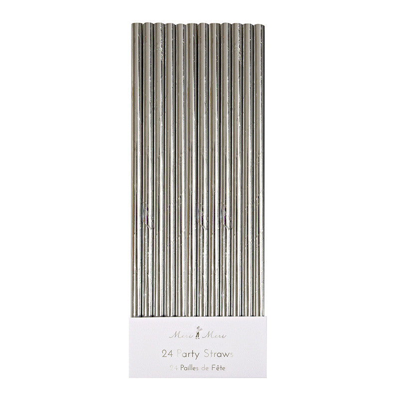 Silver Foil 24 Party Straws