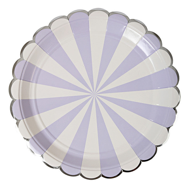 Lavender Striped Large 8 Plates