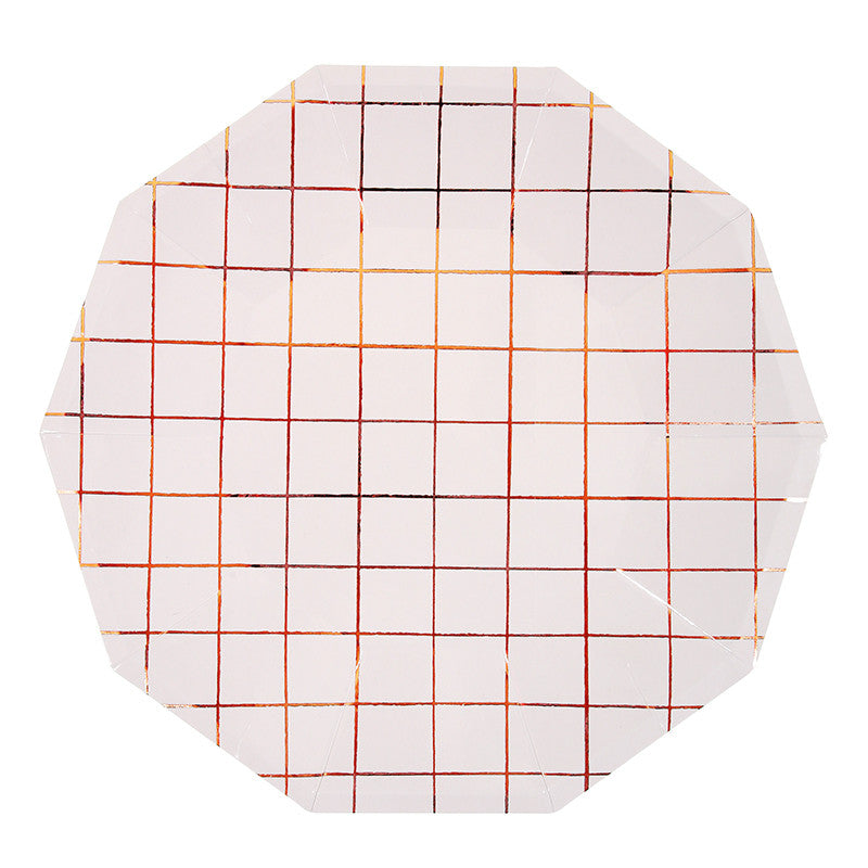 Rose Gold Grid 8 Large Plates