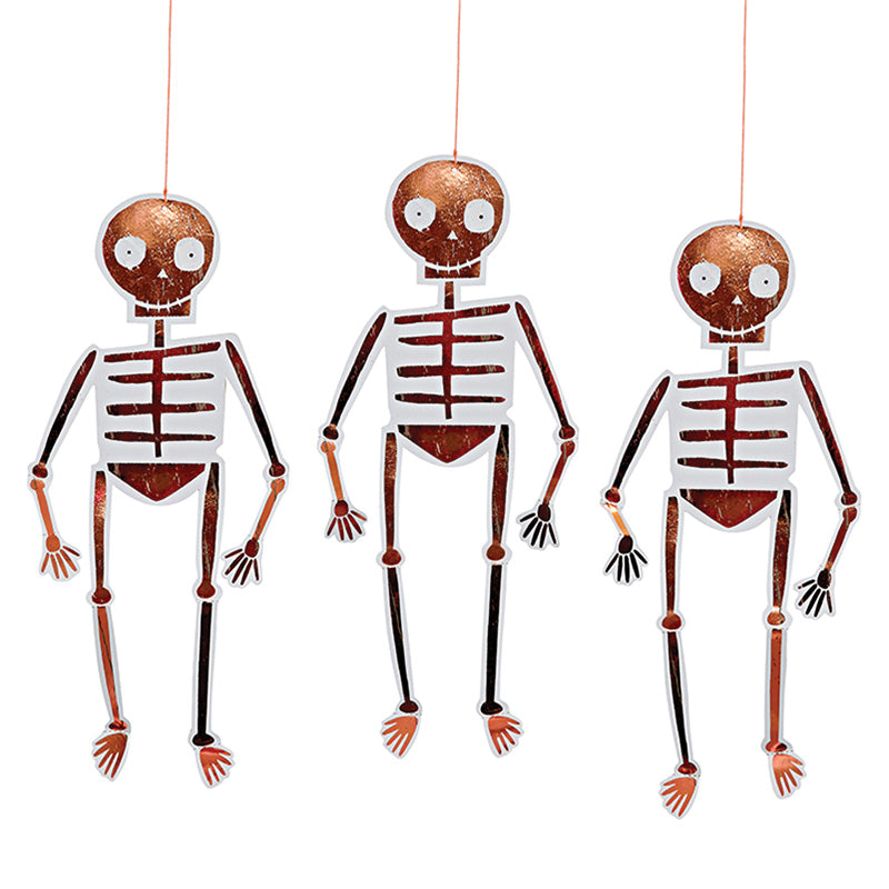 Hanging Rose Gold 8 Skeletons Halloween