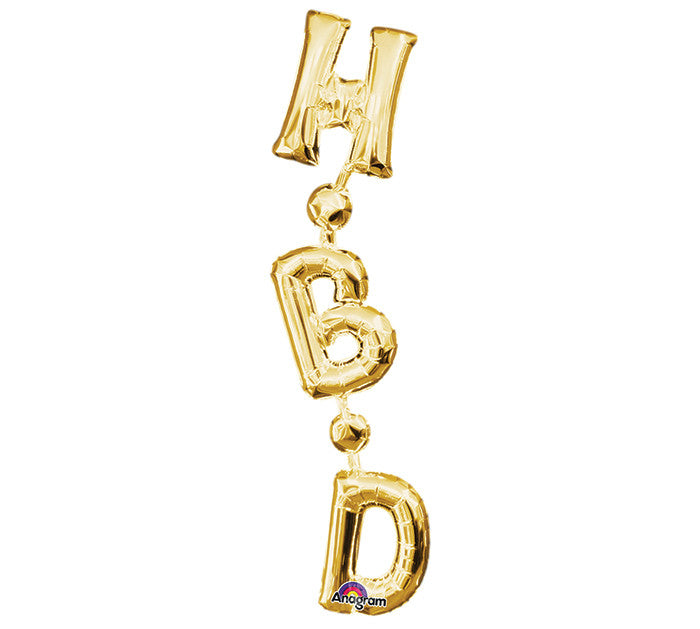 "32"" PHRASE HBD GOLD VERTICAL"