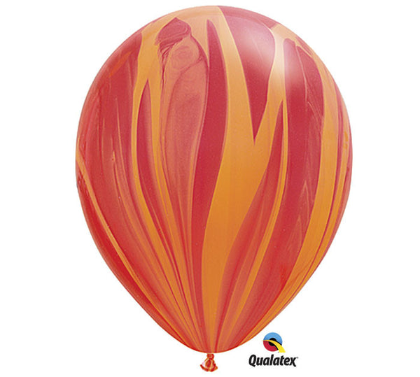 "Marble Red & Orange 11"" Balloon"