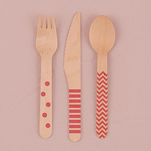 Eco Wood 3 Utensil Set With Pink Print