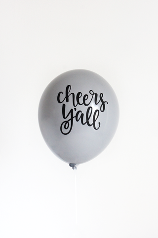 Cheers Y'all - 3 Hand Lettered Balloons