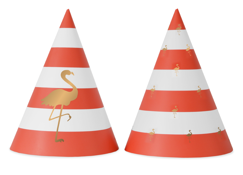 Preppy Flamingo 10 Party Hats