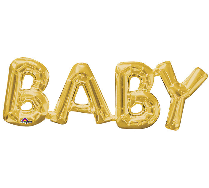 "26"" Phrase Baby Gold Balloon"