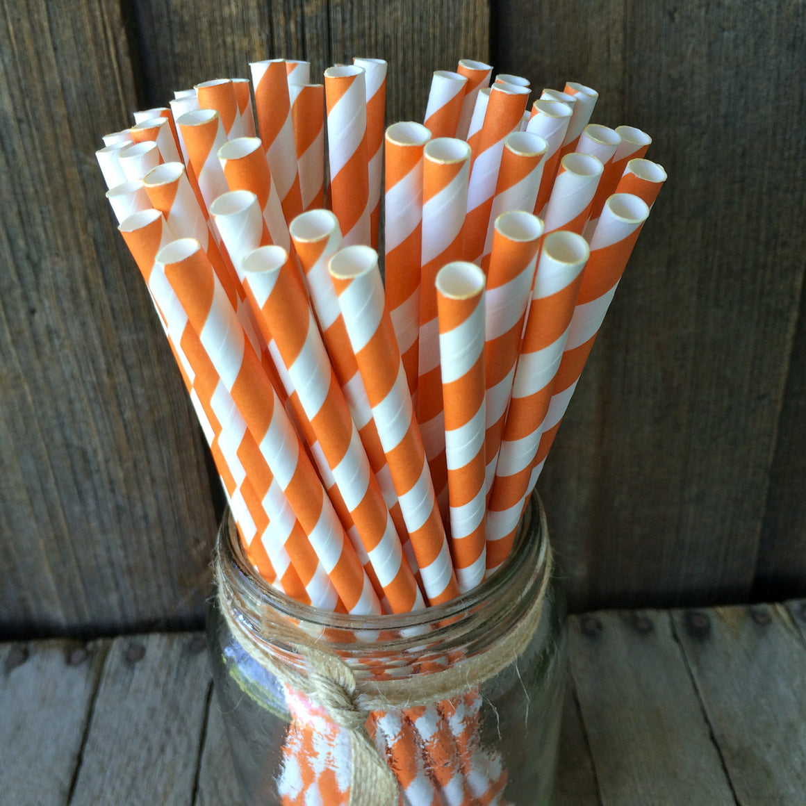 Paper 25 Straws - Orange Striped