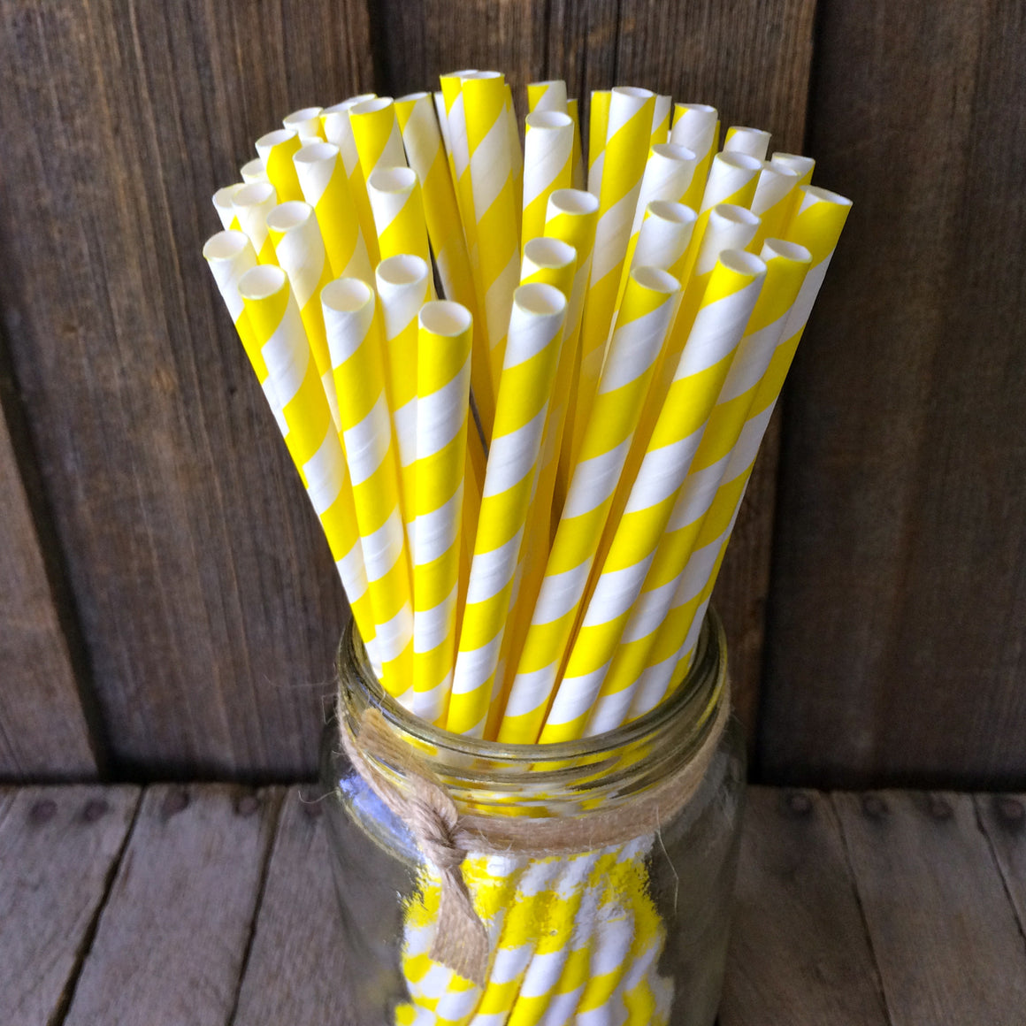 Paper 25 Straws - Yellow Stripes