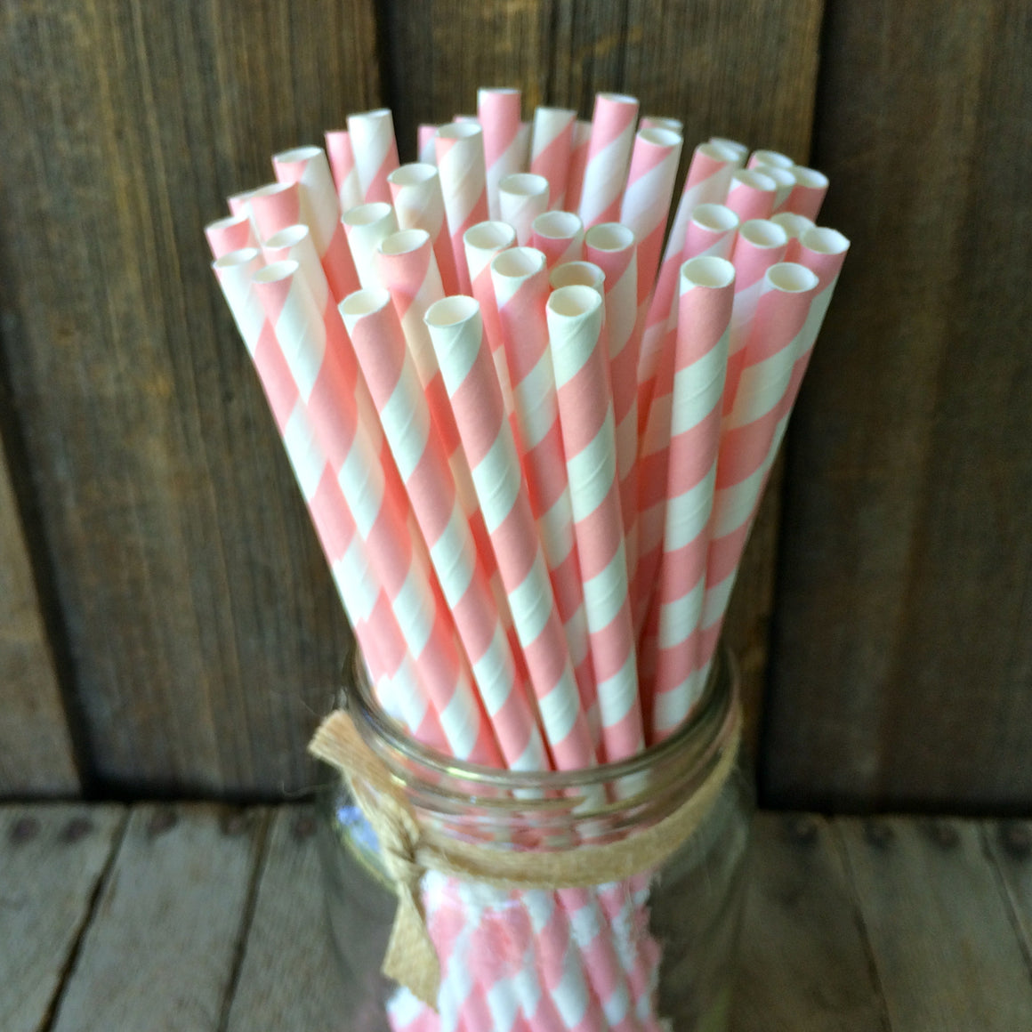 Paper 25 Straws - Light Pink Striped