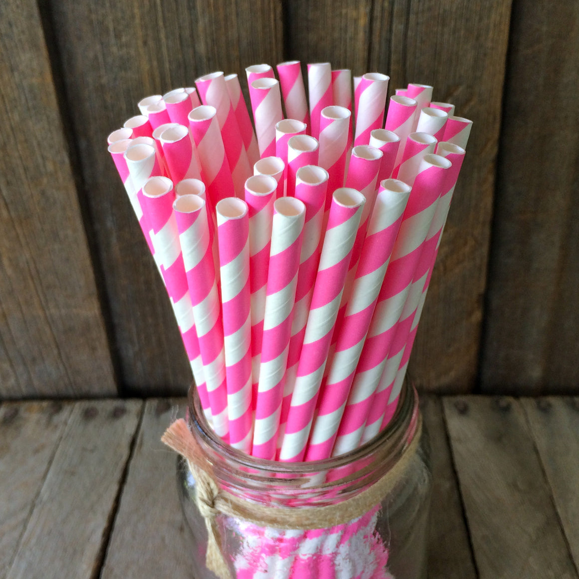 Paper 25 Straws - Hot Pink Striped