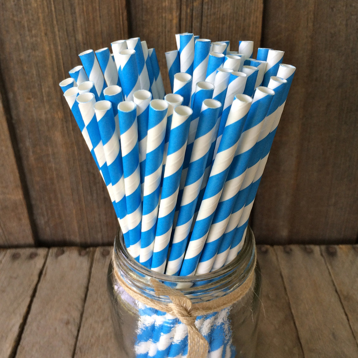 Paper 25 Straws - Blue Striped