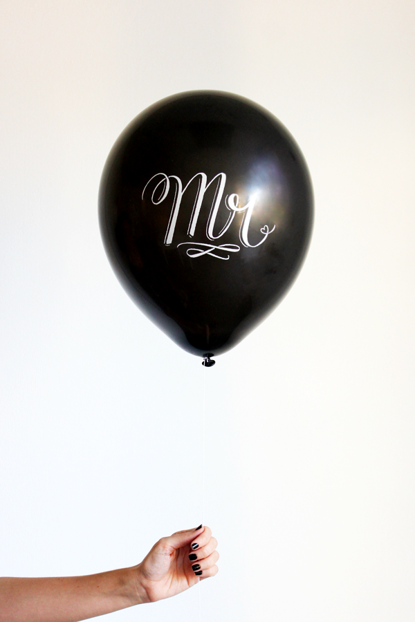 Chalk Lettered MR & MRS 4 balloons