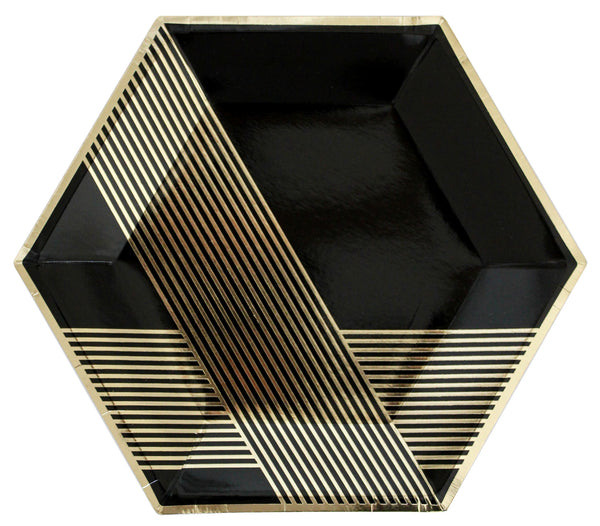 Black Hexagon 8 Large Party Plates