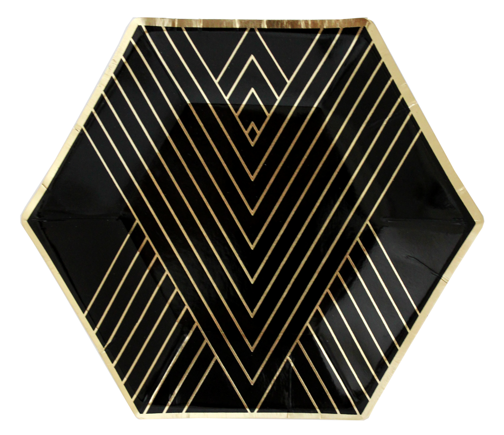 Black Hexagon 8 Small Party Plates