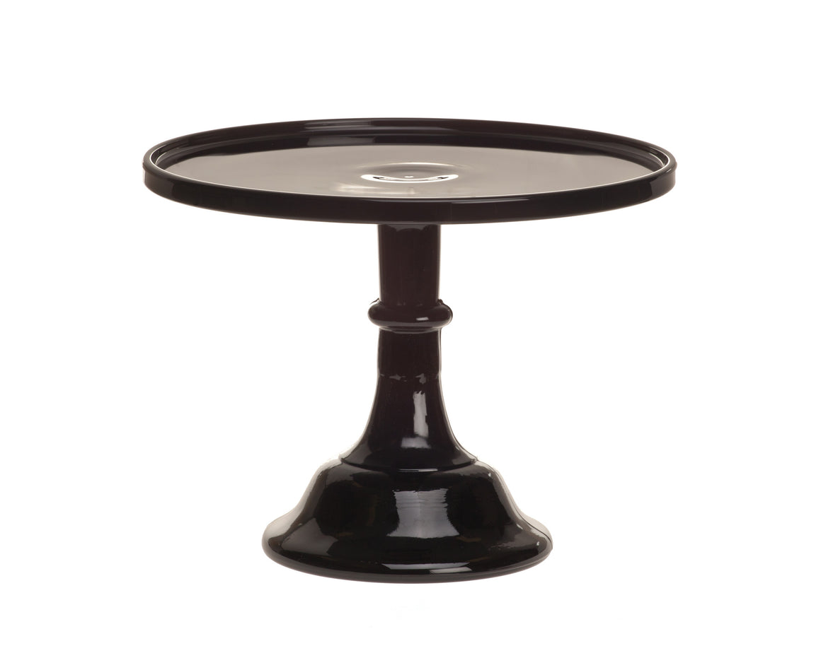 Milk Glass Cake Stand - Black 10""
