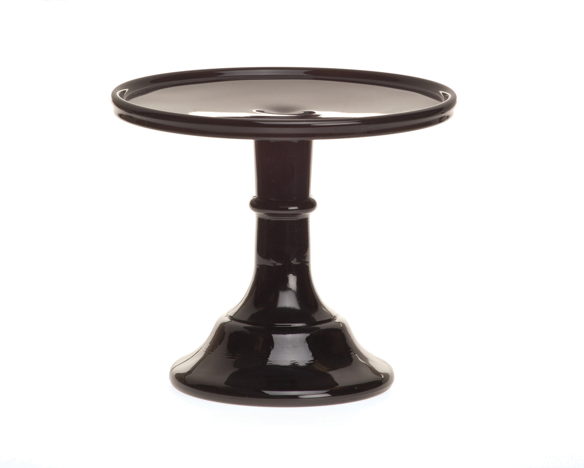 Milk Glass Cake Stand - Black 6""