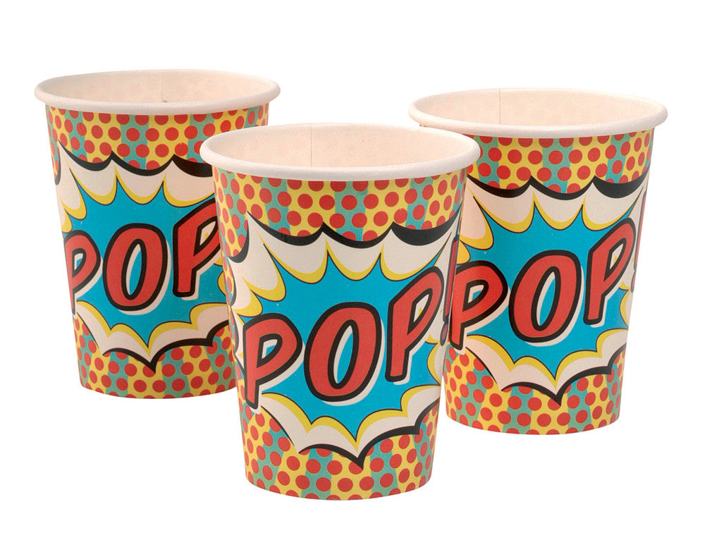 Pop Art Superhero Party - 8 Paper Cups