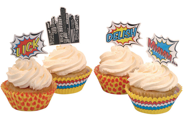 Pop Art Superhero Party - 25 Cupcake Toppers & Wrappers