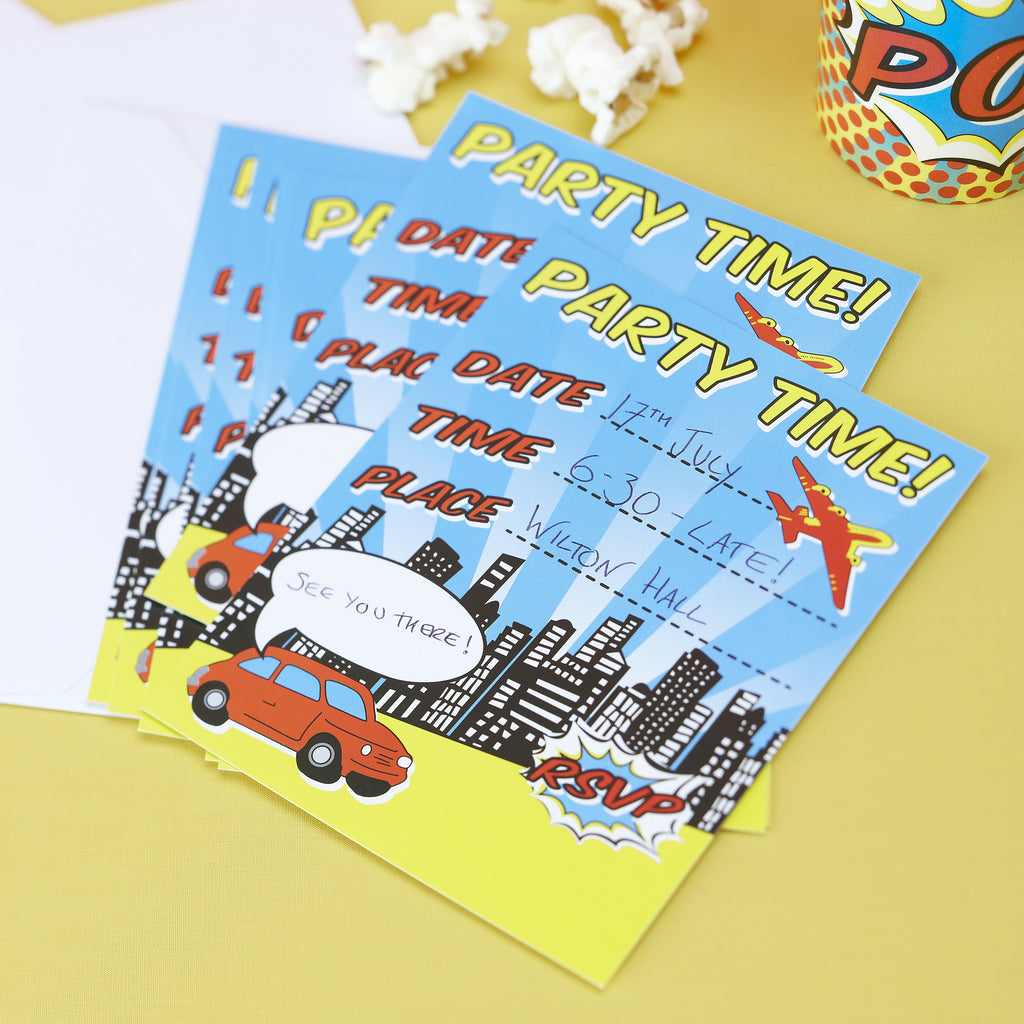 Pop Art Superhero - 10 Invitations