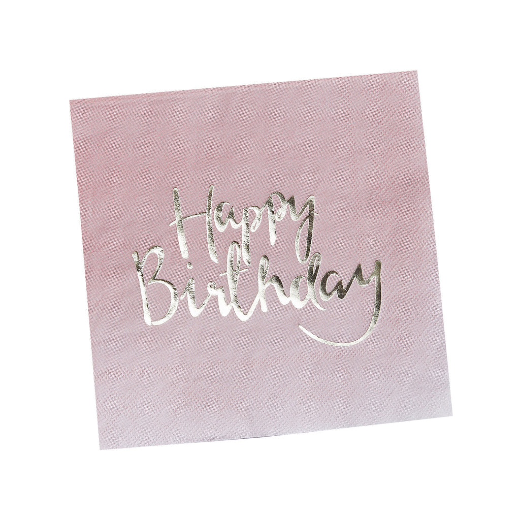 Happy Birthday Pink Ombre 20 Paper Napkins