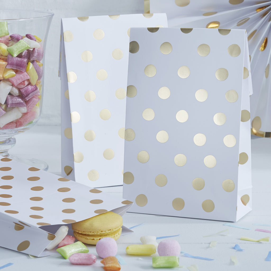 Polka Dot Gold 8 Party Bags