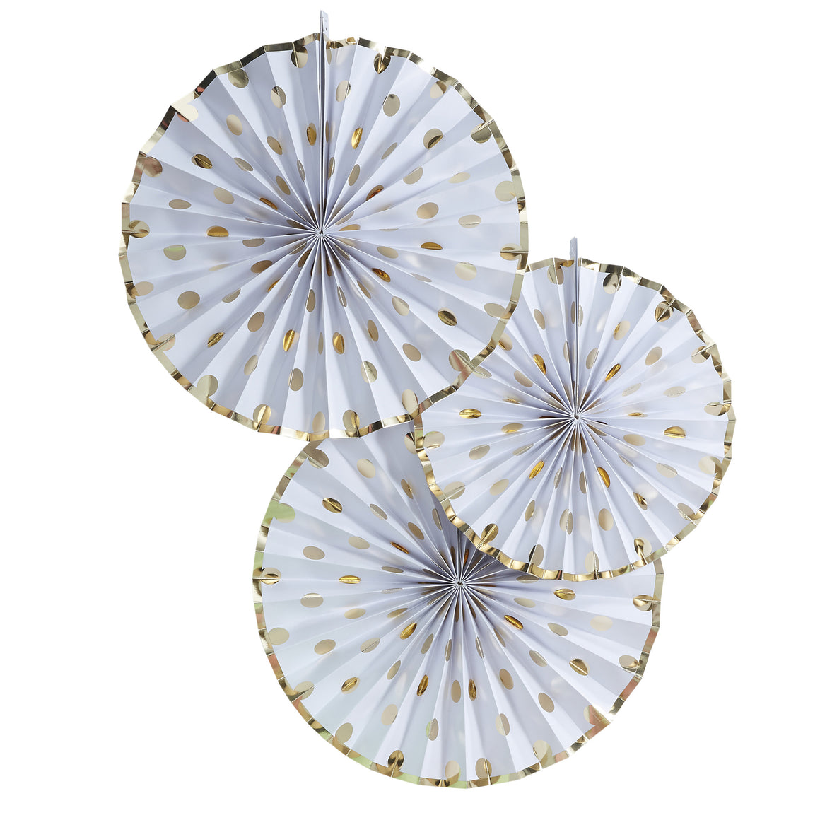 Polka Dot Gold 3 Paper Fan Decorations