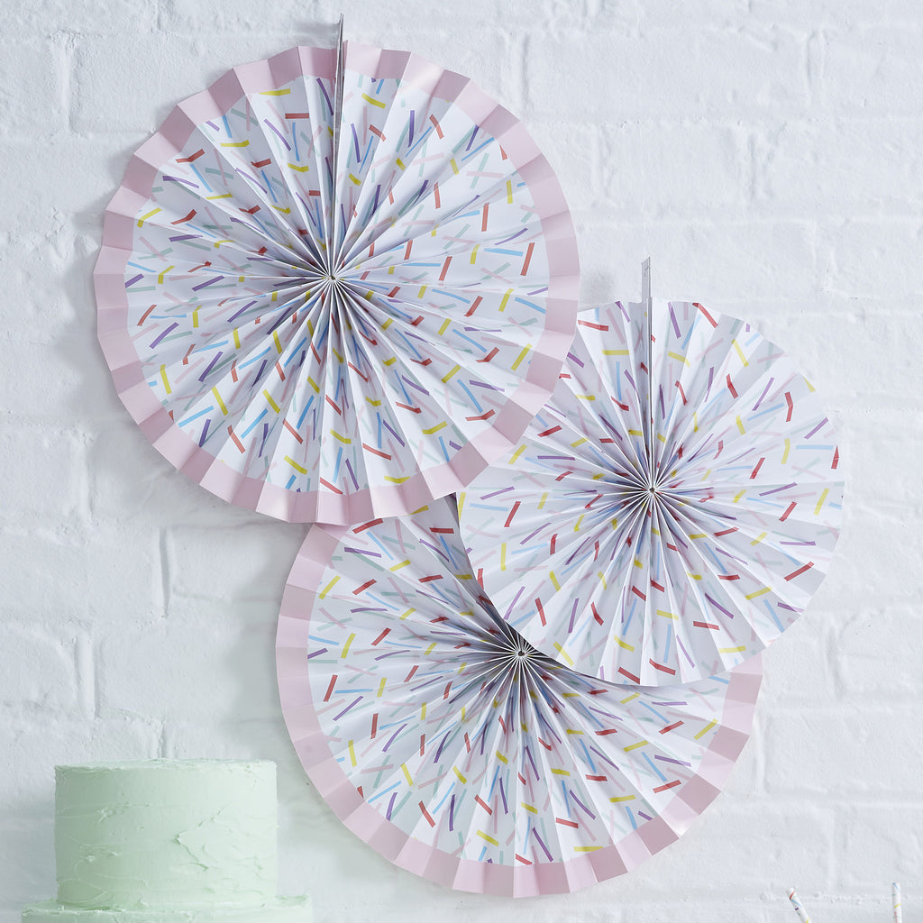 Sprinkles 3 Paper Fan Decorations