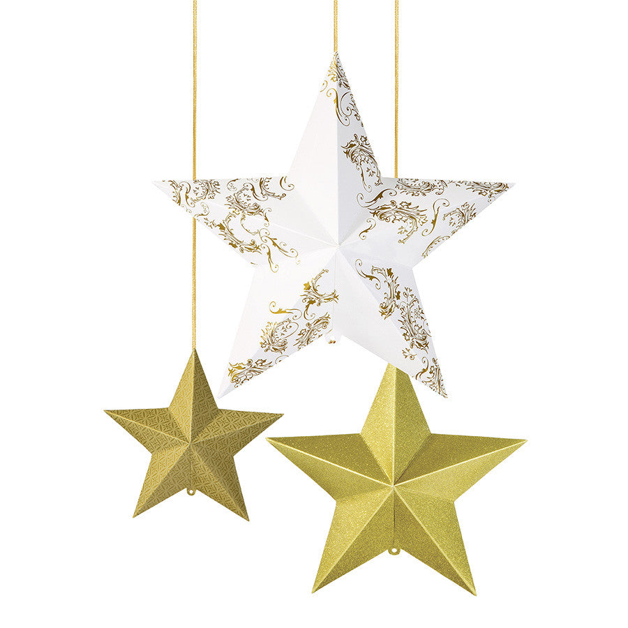 3 Gold Hanging Star Decoration