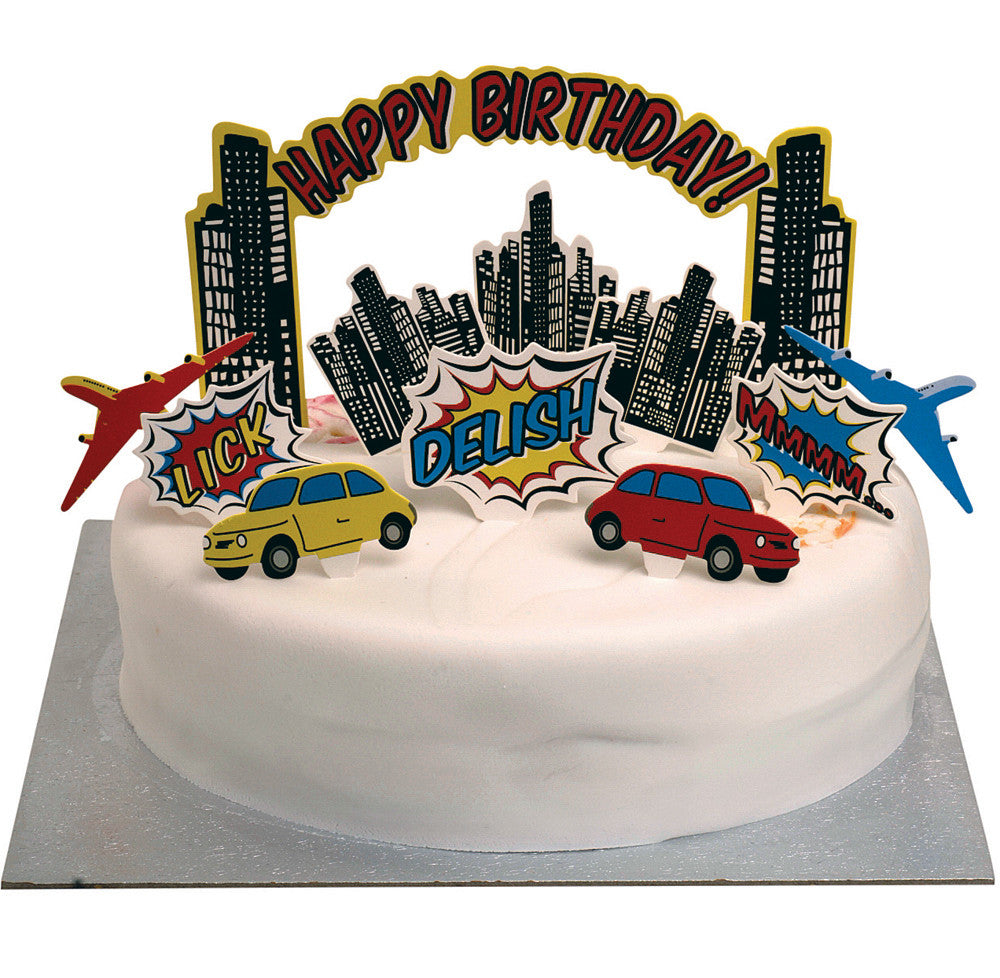 Pop Art Superhero Party - 11 Birthday Cake Toppers