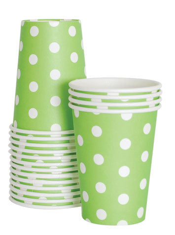 Cups - Apple Green Polka Dots