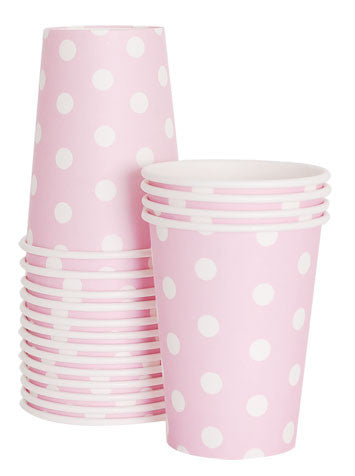 12 Cups - Light Pink Polka Dots