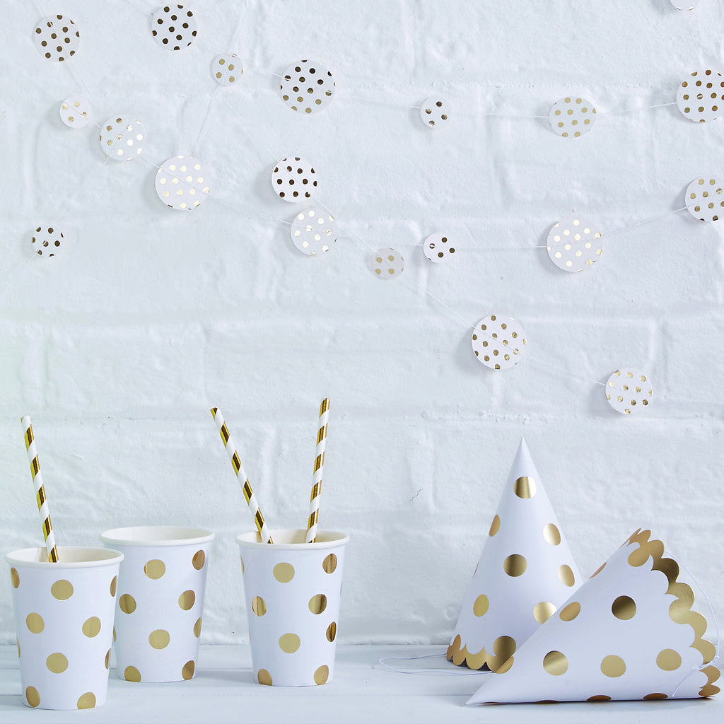Polka Dot Gold 8 Paper Cups