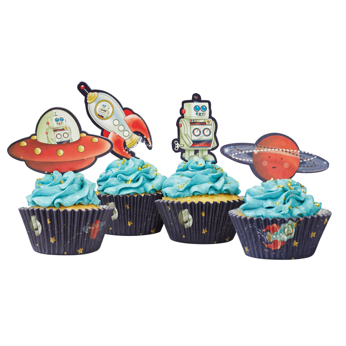 Space Adventure Party - 50 Cupcake Cases & 20 Toppers