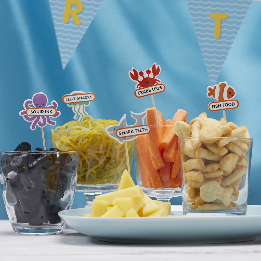 under the sea, octopus, crab, clown fish, food flags