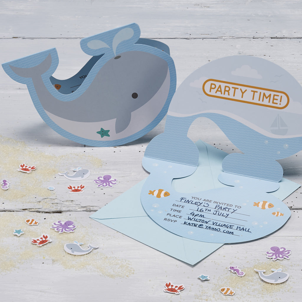 under the sea invitations, whales