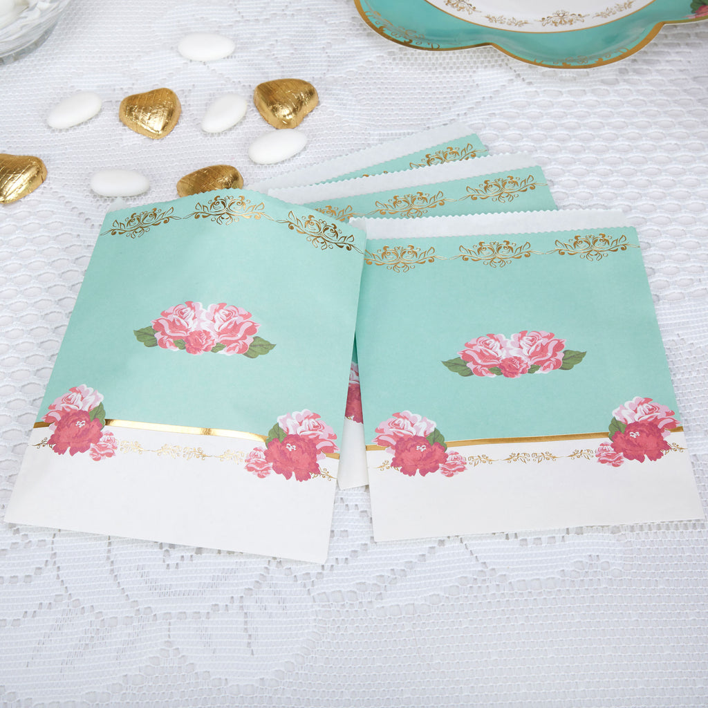 Tea party bags bridal shower baby shower party supplies flowers roses