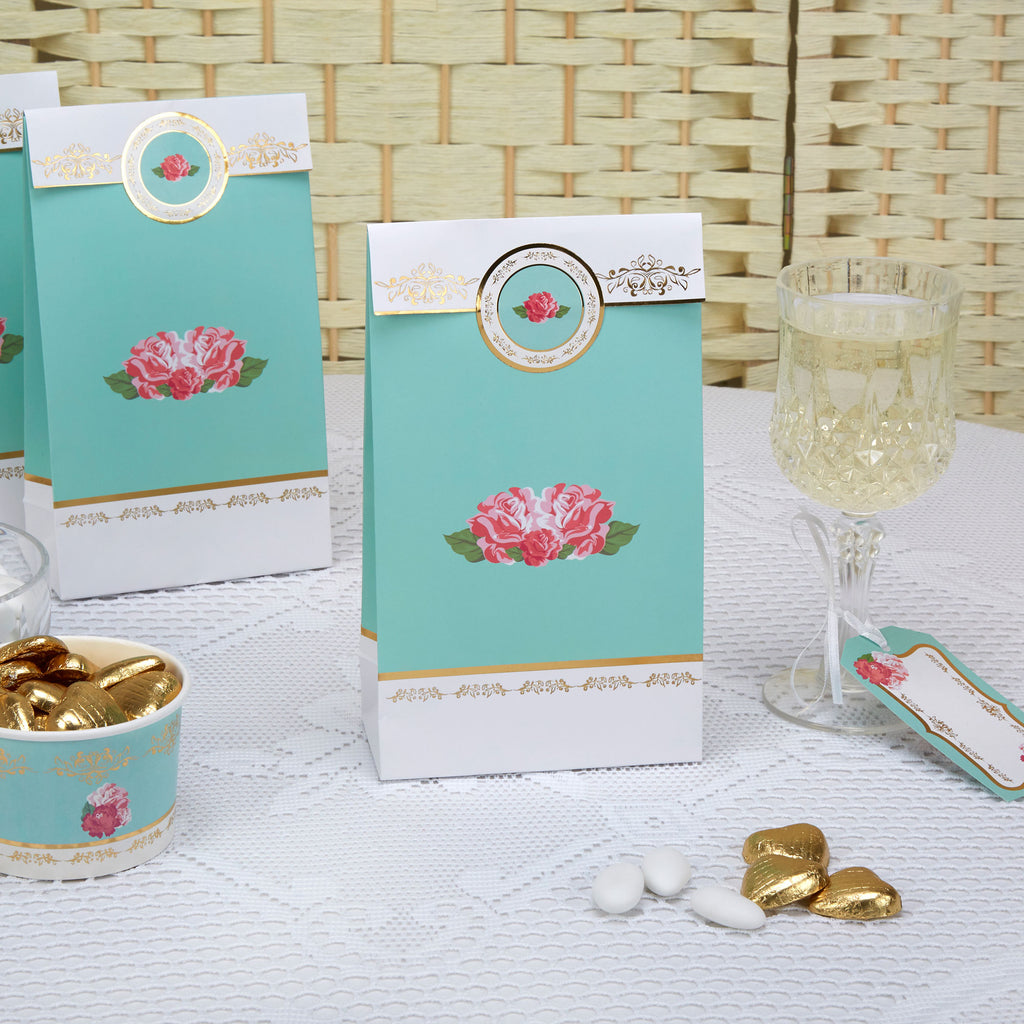 tea party supplies roses flowers baby shower bridal shower party bags