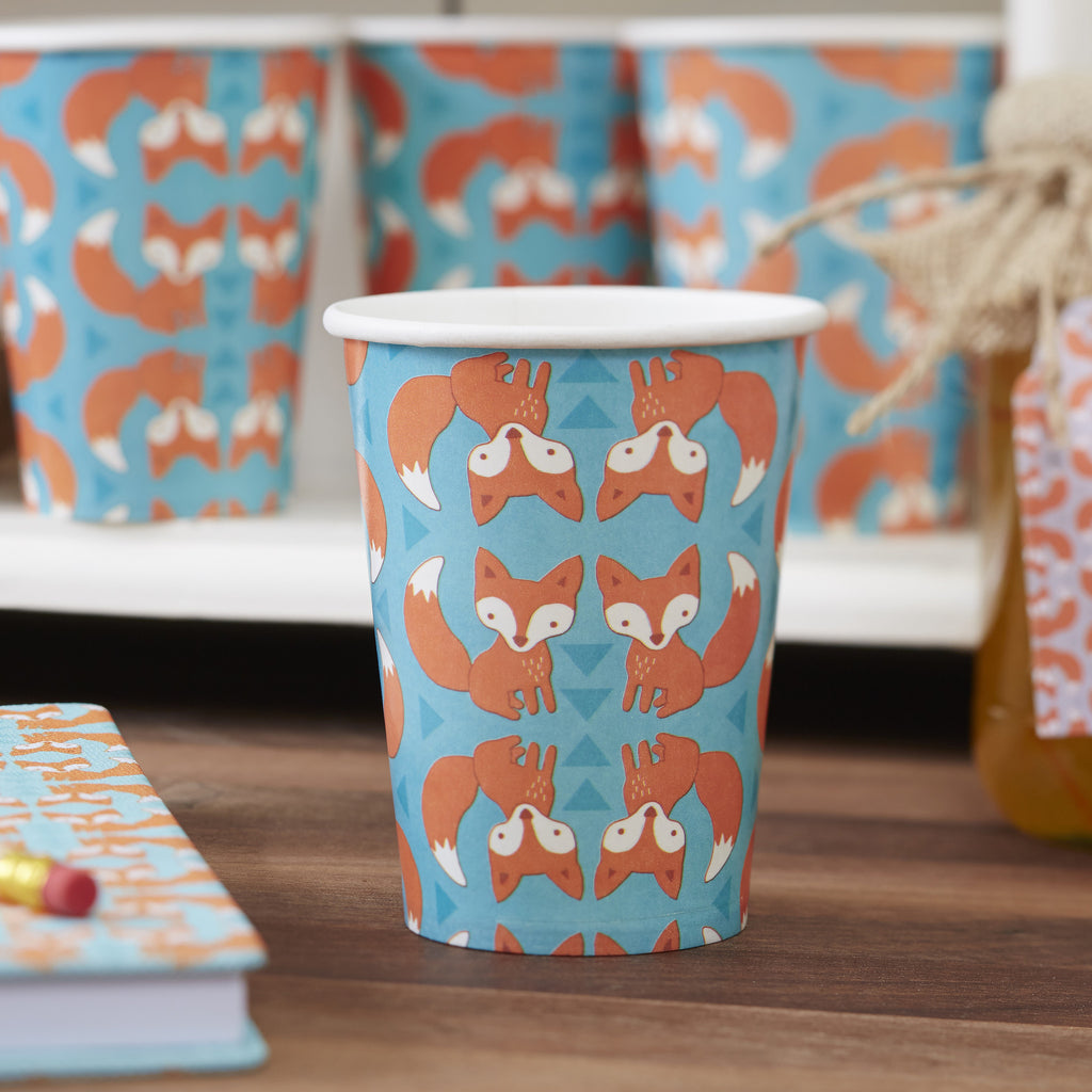 Fox 8 Paper Cups - Woodland Friends