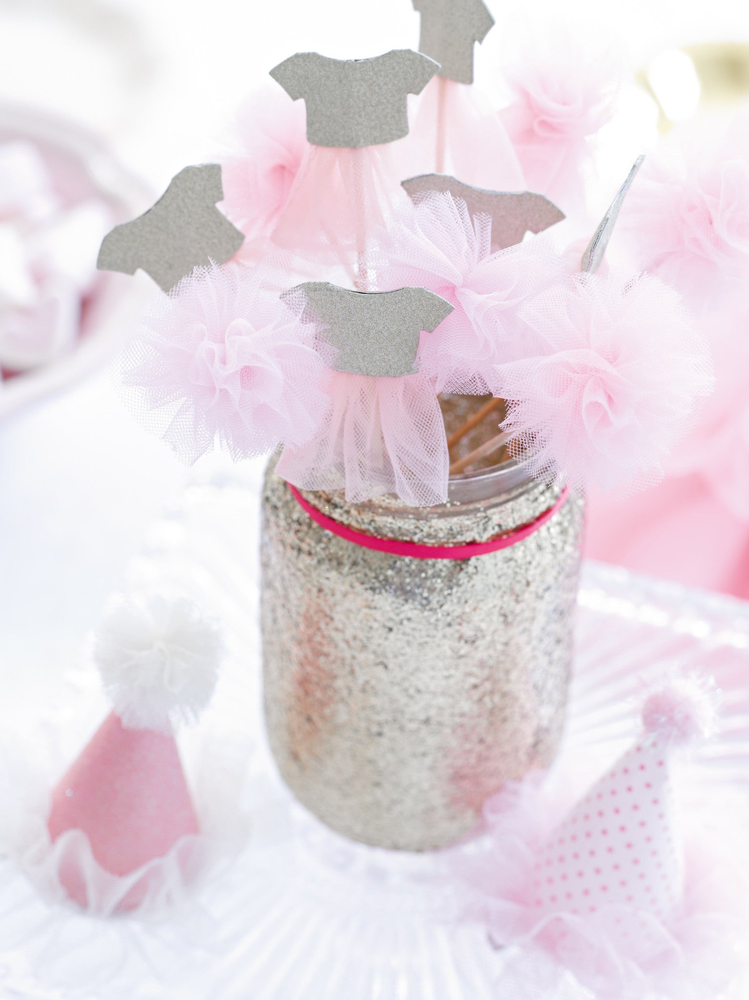 Tutus & Pom Poms 12 Cake Toppers - Ruffles & Sweets