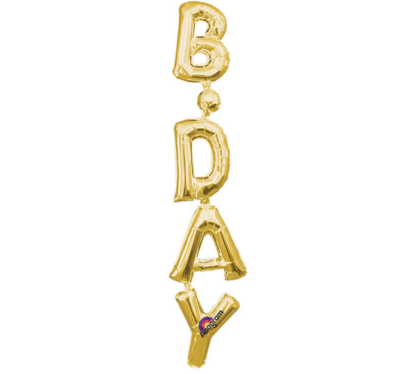 "38"" BDAY GOLD VERTICAL PHRASE"