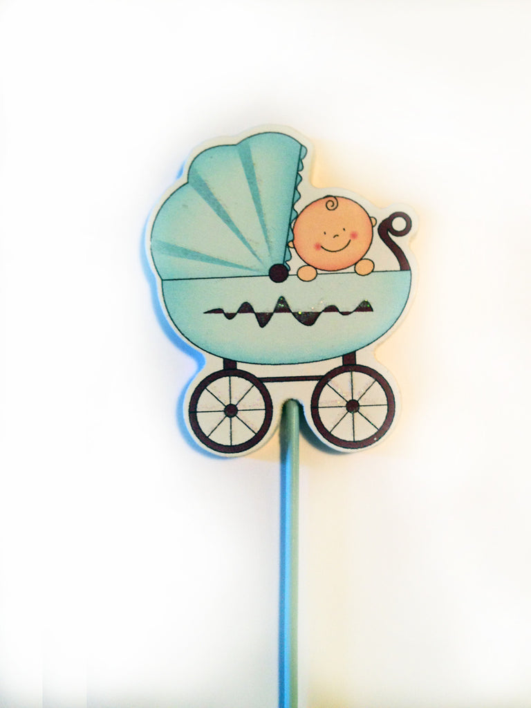 Baby Boy Blue Carriage Decoration