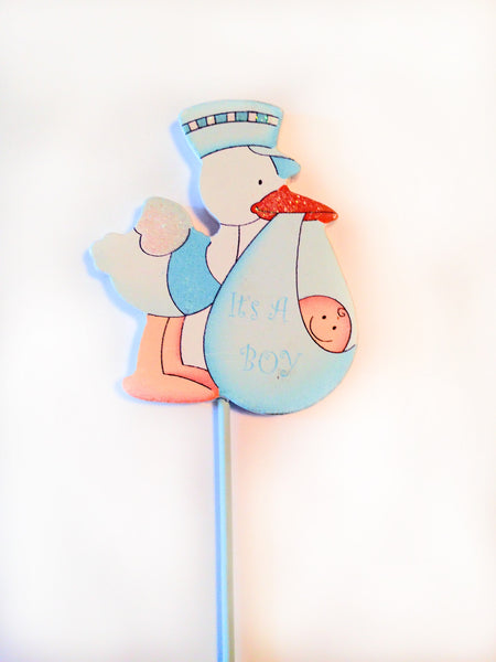 Baby Boy Blue Stork Centerpiece Decoration