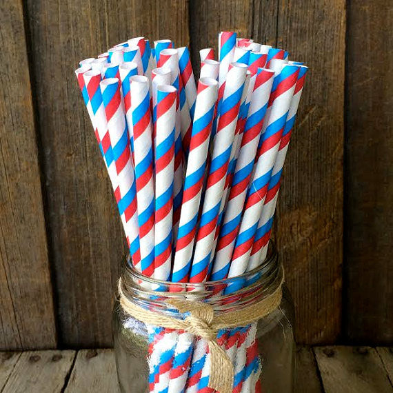 Paper 25 Straws - Red, White & Blue Striped
