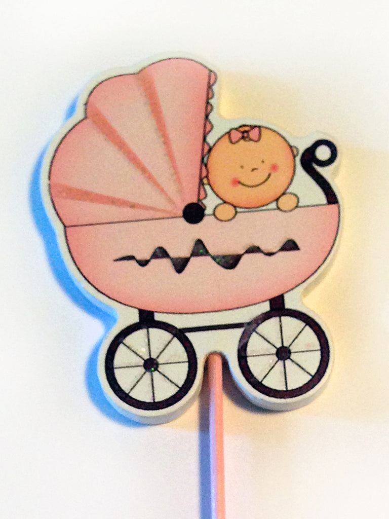 Baby Girl Carriage Pink Centerpiece Decoration
