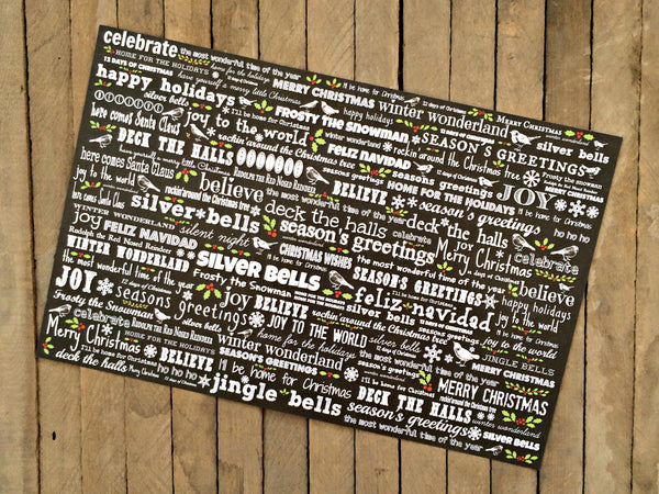 Christmas Chalkboard - 8 Placemats