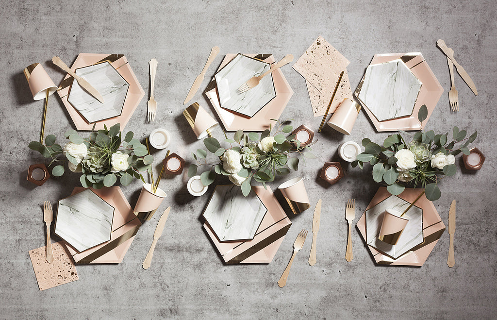Marble Hexagon 8 Small Party Plates