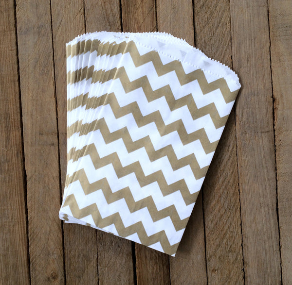 25 Candy Bags - Gold Chevron